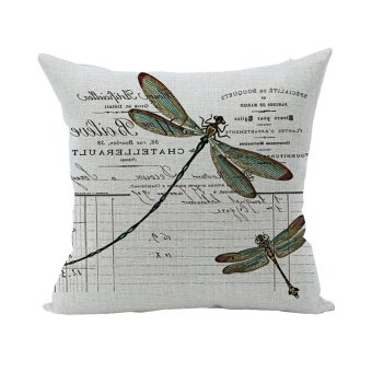 Nunubee Animal Cotton Pillowcase Linen Soft Home Square Bed Decorative Pillow Cover Dragonfly
