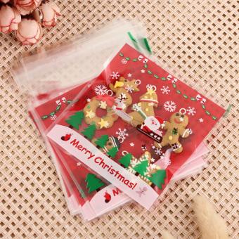 400Pcs Merry Xmas Santa Cellophane Cello Bags Cookies Candy Christmas Gift Bags - intl
