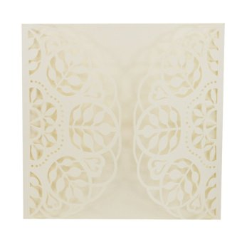 BolehDeals 20Pcs Square Elegant Laser Cut Leaf Wedding Party Invitation Cards White - intl