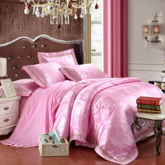 Four pieces bedding set bedding set duvet cover bed sheets solid color double satin bedding satin-like cotton fabric Rose Red - intl