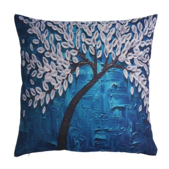 kobwa 3D Pillowcase Floral Decorative Cushion Cover Oil Painting Throw Pillow Case - intl