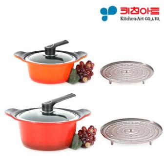 [Kitchen Art Pot Set] Two Hand Pot 28cm + Two Hand Pot 20cm / Metal casted / Ceramic coating / cooking pot / frying pan /Korea Number one Pot