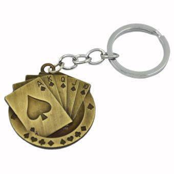 Mini Antique Poker Shaped Metal Keyring Keychain Key Ring