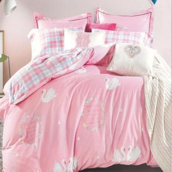 Depo Sprei dan Bed Cover Pink Swan Full Katun