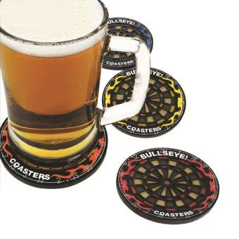 OH 4Pcs Round Bullseye Coasters Dart Board Drink Bottle Beer Beverage Cup Mats