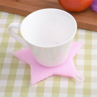 Hanyu Star Shape Kitchen Brush Cloth Washing Dishes Doesn't Hurt Hands Silicone Brush Pink