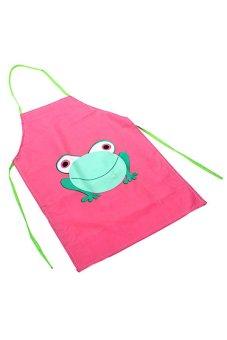 BODHI New Cute Kids Cartoon Frog Printed Waterproof Apron (Pink)