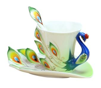 weisizhong Peacock Mugs Hand Crafted China Enamel Porcelain Tea Mug Coffee Cup Set with Spoon and Saucer (Green)
