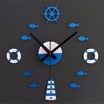 Harga Mediterranean style DIY tower rudder life circle small fish bell DIY clock bell clock mute