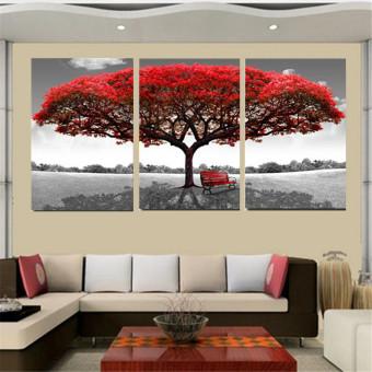 Harga 50 cm x 70 cm Merah pohon modern lukisan cat minyak di atas kanvas abstrak