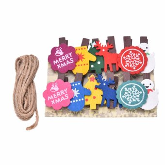 Set of 12 Christmas Snowman Wooden Pegs Paper Po Clip with linen string, - intl