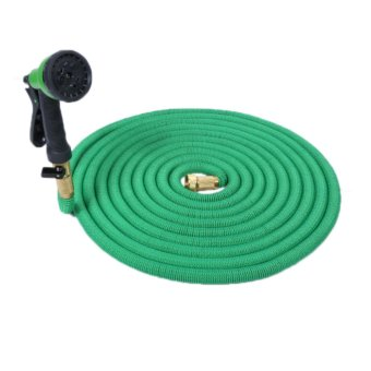 Expandable Garden Hose with Shut Off Valve Solid Brass Connector, Hose Hanger and 8-pattern Spray Nozzle – 25ft, Green - intl