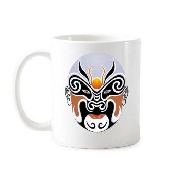 Beijing Opera Peking Opera Facial Mask Colorful Huarongdao Art Chinese Traditional Culture Illustration Pattern Classic Mug White Pottery Ceramic Cup Milk Coffee With Handles 350 ml - intl