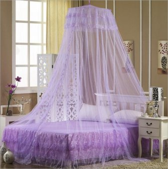 Mosquito Net Fly Insect Protection Bed outdoor Canopy Netting Curtain Dome Purple - intl