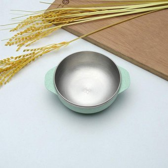 4 Colors Wheat Element Stainless Steel Two Handles Bowl - intl