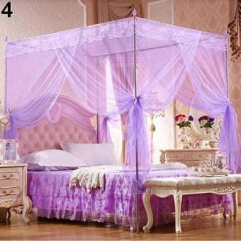 Sanwood romantis Princess renda kanopi kelambu tanpa bingkai untuk Twin Queen King Bed King size lengkap (ungu)- International