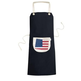 Wyoming The United States Of America USA Map Stars And Stripes Flag Shape Cooking Kitchen Black Bib Aprons With Pocket for Women Men Chef Gifts - intl