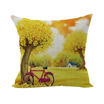 Countryside Autumn Fall Outing Gingko Tree Cabin Square Pillow Case Throw Pillow Cases Cover Cushion