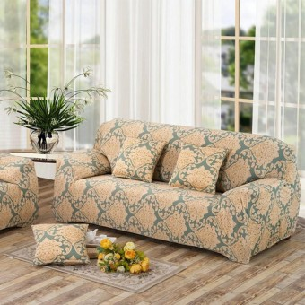 3 Seater Flower Fit Stretch Sofa Slipcover Couch Damask Fabric Protector Set - intl
