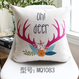 The Deer headers to north color cotton linen pillow against ,55x55cm - intl