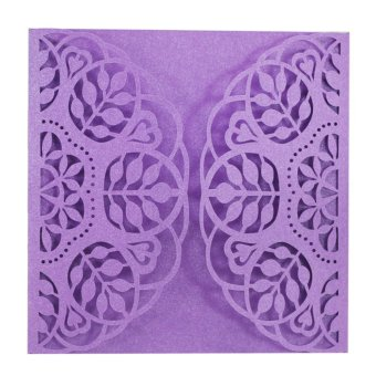 BolehDeals 20Pcs Square Elegant Laser Cut Leaf Wedding Party Invitation Cards Purple - intl
