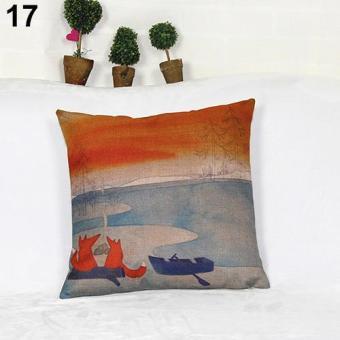 Sanwood Fashion Square Linen Throw Pillow Case Home Sofa Decoration 17 - intl