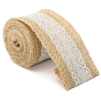 Type 4 5x200cm Vintage Jute Burlap Hessian Lace Rustic Table Runner Wedding Party Decor - intl