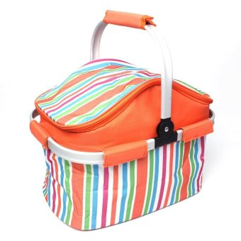 Portable Foldable Lunch Bags Picnic Basket Cooler Bags Thermal Insulated Double Layers Oxford Aluminum Handle Camping Picnic Bags - intl