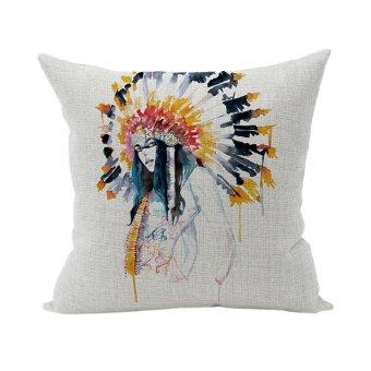 Indian Ethnic Home D??cor Cotton Linen Watercolor Pillow Case Cushion Cover