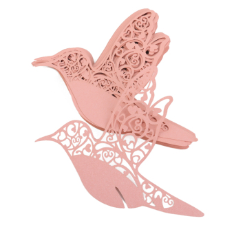 Bird Glass Place Cards Wedding Party Table Decoration 50piece Pink