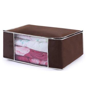New Bamboo Charcoal Clothes Blanket Folding Storage Organizer Box Bag Closet 53 35 21cm Horizontal Brown