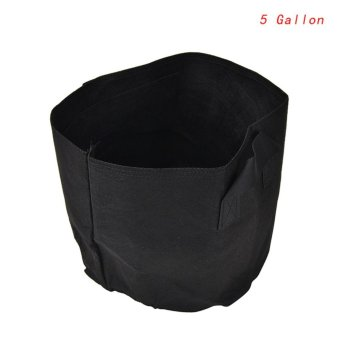 Black Fabric Pots Plant Pouch Root Container Grow Bag Aeration Pot Container 5gallon - intl