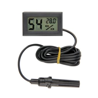 Universal Mini Digital Thermometer & Higrometer With Probe Black