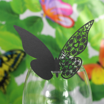 BolehDeals 50 buah anggur kupu-kupu kaca dekorasi pesta pernikahan tempat kartu nama - hitam
