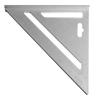 4pcs 7inch Silver Aluminum Alloy Speed Square Roofing Triangle Angle Protractor Try Square Carpenter's Measuring Layout Tool