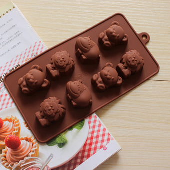 Silicone 8 Lion Bear Hippo Cow Mold Chocolate Cake Crafts Animals Shape Moulds - Intl