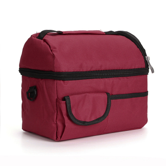 Insulated Waterproof Thermal Shoulder Picnic Cooler Lunch Bag Storage Box Wine Red