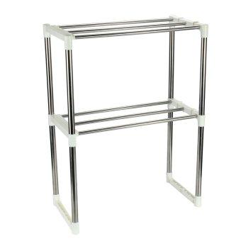 sqamin Multifunctional Microwave Oven Rack Kitchen Shelves, Silver - intl