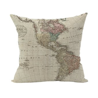 Nunubee Soft Pillowcase Cotton Linen Square Throw Decorative Cushion Cover For Home Map
