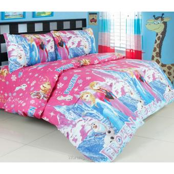 Bedcover Set Jaxine Katun Motif Frozen Ice Castle Pink