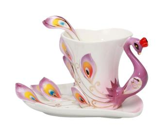 moob Peacock Mugs Hand Crafted China Enamel Porcelain Tea Mug Coffee Cup Set with Spoon and Saucer (Purple)