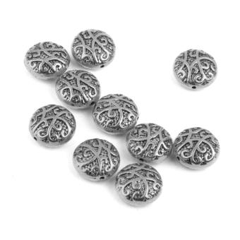 BolehDeals 10 Pieces Antique Silver Alloy Round Spacer Beads 14mm