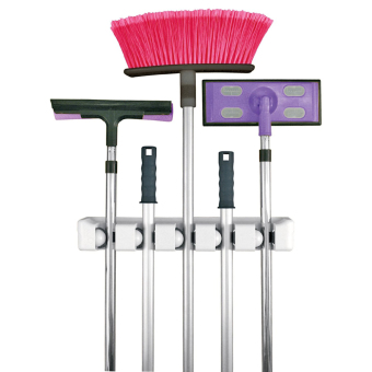 Mop and Broom Holder, Wall Mounted Garden Tool Storage for the Home Plastic Hanger (5-position) - intl