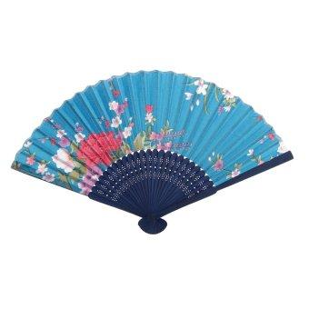 BolehDeals Flower Pattern Hand Fan Party Handheld Folding Fan - Blue
