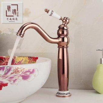 All copper antique fittings porcelain basin taps on basin mixer golden taps 044 Single Handle Faucet - intl