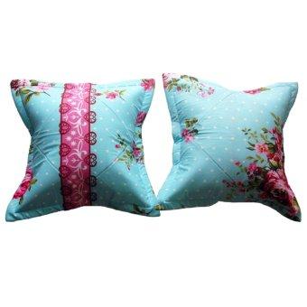Alona Ellenov Sarung Bantal Sofa Katun Motif rosie blue - blue