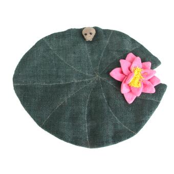 RIS Handmade Natural Hemp Woven Coaster Hot Plate Pot Mat Liner Lotus Design