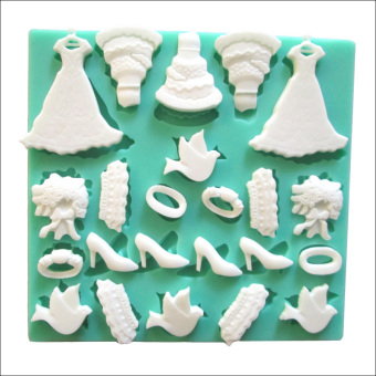 Arrival Evening dress silicone fondant cake molds Chocolate chip mold cake tools kitchen baking resin moulds color Green F0236QZ45 - Intl