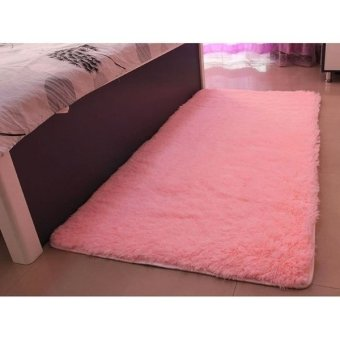 Harga Anti-skid 40x60cm Bedroom Dinning Room Floor Mat Soft Shaggy Rug Carpet (pink