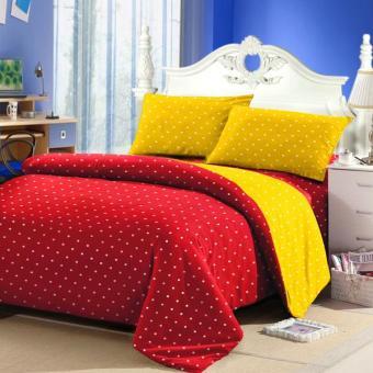 Alona Ellenov Polkadot Merah Kuning Bed Cover Set Katun – Merah